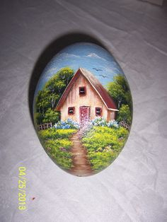 Emu egg painted with acrylic