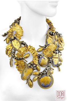 stunning haute couture necklace with hand stitched linen squares embossed with gold leaf, pyrite beads, gold leaf embossed linen buttons, glass & resin beads* necklace size 48 cm* widest part cm* 3 button clasp Simple Necklace, Unique Earrings, Clip On Earrings, Floral Necklace, Bead Embroidery Jewelry, Beaded Jewelry, Beaded Necklaces, Chunky Necklaces, Handmade Necklaces
