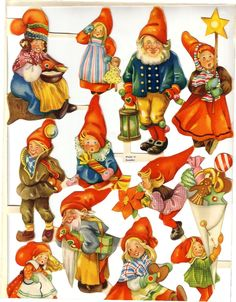 Vintage Sheet of Die-cut Scrap Santas Sweden made - 'bokmärken' is the Swedish word for this kind of thing ...
