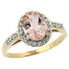 10K Yellow Gold Diamond Natural Morganite Ring Oval 8x6mm size 10 -- For more information, visit image link.