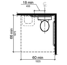 The clearance around a water closet is shown in plan view to be 60 inches (1525 mm) wide minimum and 66 inches (1675 mm) deep minimum with a...