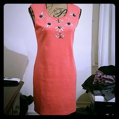 New! Ya Los Angeles Hot Dress Coral stretch dress from Ya Los Angeles with jeweled bodice and cut out in the back. Very sexy bodycon dress. Soft polyester and spandex mixed with cotton. Jeweled accents are clear, dark gray and Amber. Ya Los Angeles  Dresses Mini