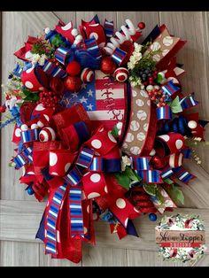 Patriotic Party, Patriotic Wreath, Patriotic Crafts, Wreaths For Front Door, Door Wreaths, Baseball Wreaths, Wreath Making Supplies, Seasonal Celebration, Deco Mesh Wreaths