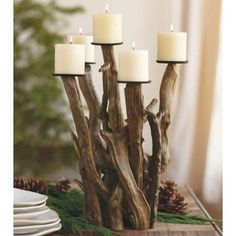 DIY recycling Driftwood ideas for making awesome decoration that you would have never imagine before to do that at home. Recycling driftwood for decoration can Driftwood Projects, Driftwood Art, Diy Projects, Driftwood Ideas, Driftwood Wedding, Driftwood Candle Holders, Driftwood Centerpiece, Candelabra Centerpiece, Log Candle Holders