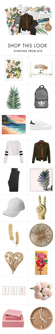 """Adidas"" by tiffanytma ❤ liked on Polyvore featuring Rifle Paper Co, Nika, adidas, adidas Originals, LE3NO, Citizens of Humanity, Palecek, Home Decorators Collection and NOVICA"