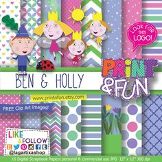 Ben and Holly Digital Paper  clip art Background by Printnfun, €3.00