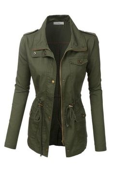 You're commander-in-chic of faux-army style in this military style utility jacket! This light-weight military style jacket in olive green cotton twill marries form and function. Perfect for layering,