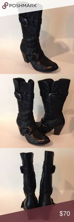 Born Concept Black Leather Boots These boots are in excellent condition. The leather is very nice all over with very slight wear on the heels. No major scuffs or tears in the leather. Some normal wear on the leather next to the zipper from zipping and unzipping. Not at all detracting. Beautiful boots. Comes to mid calf. Fits true to size. No trades or bundles at this time. Born Concept Shoes Heeled Boots