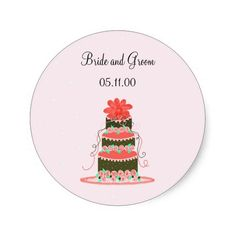 Coral and Chocolate Wedding Cake Stickers