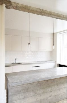 white + wood + concrete