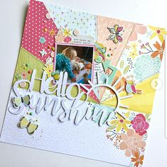 Hello Sunshine layout by Virginia Walker using an original cutfile designed for Kitaholic Kits and using Simple Stories Scrapbook Storage, 12x12 Scrapbook, Scrapbook Sketches, Scrapbook Page Layouts, Scrapbook Paper Crafts, Scrapbook Albums, Scrapbooking 101, Picture Layouts, Greeting Cards Handmade