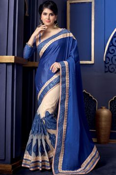 Online Shopping for Blue Designer Wear Net Saree | Wedding Sarees | Unique Indian Products by Ethnic Basket - METHN65932240870