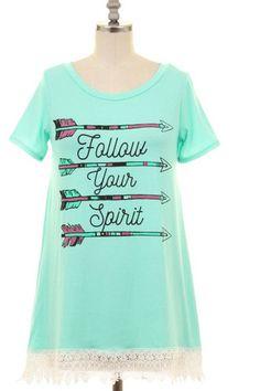 cheaper f17ee d35b3 Women s Mint Lace Detail Graphic Tunic Top - Keffeler Kreations    HilltopBoutique.com - 1