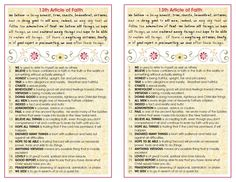 LDS Young Women Tips, Handouts & Ideas: Define the 13 articles of faith.