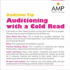 Cold reads are generally a little bit more flexible because they know you haven't had time to practice. But, make sure you ASK for time to go through the material, at least 10 minutes. DON'T WING IT. Theatre Auditions, Drama Theatre, Theatre Nerds, Music Theater, Theatre Group, Drama Education, Drama Class, Drama Drama, Acting Quotes