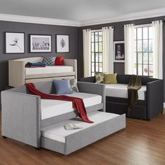 Trundle Bed,Twin Beds: Transform the look of your bedroom by updating possibly the most important furniture in the space, letting you create a grand feel or a serene retreat. Free Shipping on orders over $45!