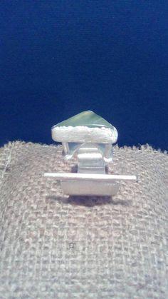 Prehnite ring  Green prehnite ring-Prehnite silver ring