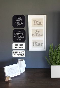 Personalized Mr & Mrs name and date fabric art prints. Original wedding gift or wedding decor by My Home and Yours