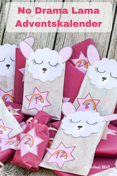 drama movie No Drama Lama Adventskalender. Alpacas, Party Gift Bags, Party Gifts, Diy Gifts, Christmas Hacks, Diy Christmas Cards, No Drama Lama, Calendrier Diy, First Day Of Winter