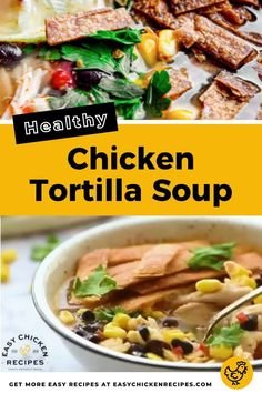 This healthy Mexican soup recipe has flavors that will make your tastebuds sing! Made with a chicken and tomato base, it incorporates Mexican ingredients such a corn, chili, lime and cilantro and then topped with crispy tortilla chips. #chickensoup #Mexicansoup #comfortfood #easysoup