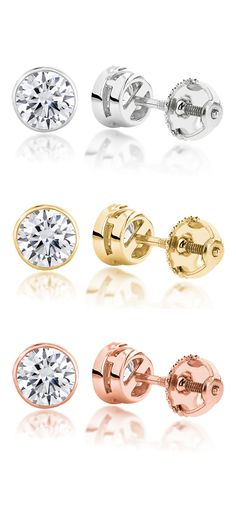 This perfect set of 14K Gold Round Diamond Bezel Earrings Studs is held securely in 14K gold settings and a tight screw back closure for secure wear. Each bezel set round diamond stud earring weighs approximately 0.16 carats, for a total diamond weight of approx. 0.33 ctw.