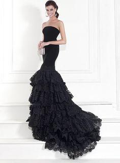 Simple Black Floor-Length Mermaid Lace Strapless Long Formal/Evening Dress
