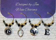 Wine Charms LOVE Swarovski Crystals Set of 4 by DesignsByJen1,