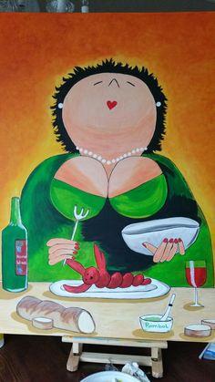 Lekker eten, dikke dames, kreeft, culinair