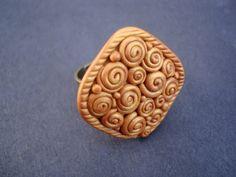 Shimmering Golden Swirl Polymer Clay Ring by MonkeyJune on Etsy, $23.00