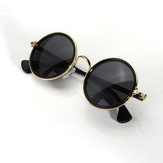 d9207cec610 Men Women Vintage Retro Round Golden Metal Mirrored Sunglasses is hot sale  at NewChic