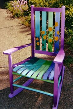 Surprising Cool Tips: Outdoor Furniture Diy furniture sketch lighting.Furniture Chair No Sew. Painted Rocking Chairs, Hand Painted Chairs, Funky Painted Furniture, Paint Furniture, Repurposed Furniture, Furniture Makeover, Cool Furniture, Furniture Design, Furniture Ideas
