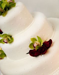 WeddingChannel Galleries: Green Orchid and Red Rosebud Wedding Cake