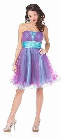 Flirty Turquoise Homecoming Dress Short Tulle Skirt Strapless Beading Satin Empire Waist $117.99