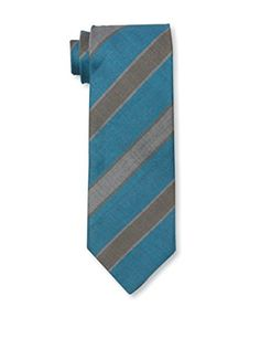 Rossovivo Men's Striped Tie, Turquoise/Grey