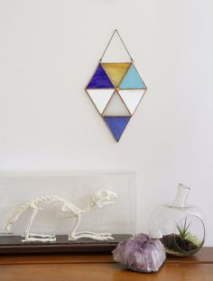 Modern boho stained glass. Modern window decor. Geometric stained glass project.