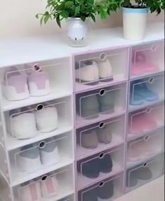 Our shoe storage boxes have drop-front doors so you can easily access your shoes even when units are stacked or on a high shelf. The clear front and sides allow you to see what's inside at a glance. Say goodbye to the clutter. Closet Shoe Storage, Diy Shoe Rack, Shoe Closet, Closet Organization, Wardrobe Storage, Shoe Storage Drawers, Shoe Drawer, Shoe Storage In Bedroom, Shoe Storage Design