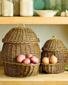 Potato and onion storage baskets. Never seen anything like this before.