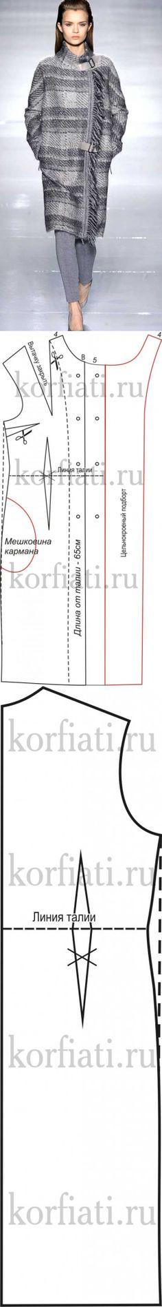 Прямое пальто в клетку -выкройка от А. Корфиати