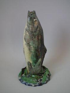 French Majolica Palissy fish vase