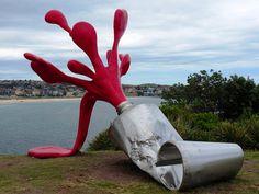 Claes Oldenburg Sculpture on the Shore. 3d Street Art, Street Art Graffiti, Land Art, Pop Art, Sea Sculpture, Outdoor Sculpture, Outdoor Art, Art Plastique, Public Art