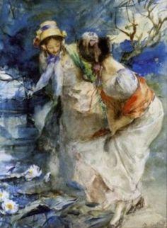 Antoine Calbet - Deux femmes dans un parc