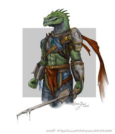A detailed sketch of a medieval lizard warrior. Enjoy!