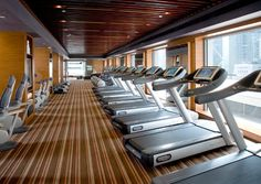 Nice linear flooring. Treadmills facing window a plus
