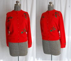 Vintage 1950s Cardigan Sweater- 50s Red Embroidered Strawberry Wool Sweater Small. $65.00, via Etsy.