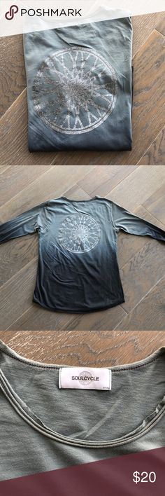 SoulCycle ombré long sleeve shirt Excellent to throw on post workout, this ombré long sleeve cotton shirt has classic SoulCycle wheel on the back. Loose fit, worn only once and in perfect condition. Size small but would also fit M. soulcycle Tops Tees - Long Sleeve