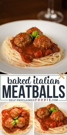 Baked Italian Meatballs made with beef, pork, and fresh basil are so flavorful Perfect in spaghetti but also in a delicious meatball sub sandwich! The post Baked Italian Meatballs made with beef, pork, and … appeared first on Woman Casual - Food and drink Beef And Pork Meatballs, Baked Italian Meatballs, Tasty Meatballs, Italian Spaghetti And Meatballs, Beef Steak, Roast Beef, Meatball Recipes, Beef Recipes, Italian Recipes