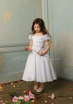 Organza A line Square Zipper up Tea Length Short Sleeve Flower Girl Dress