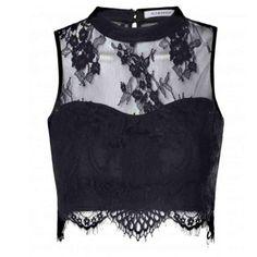 Glamorous Black Sheer Lace Scallop Hem Crop Top: Black - £20.00 - Glamorous…