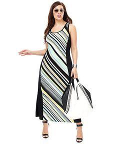 Calvin Klein Plus Size Sleeveless Striped Maxi Dress - Plus Size Dresses - Plus Sizes - Macy's