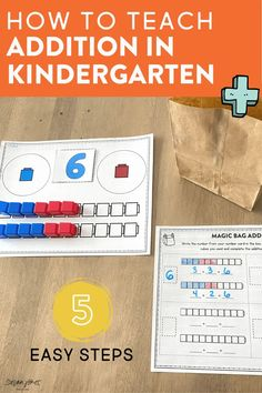 Wondering how to teach addition in kindergarten? In this blog post, I share 5 steps to help your kindergarten students practice and understand addition within 10! Head over to the post to see fun ideas, activities, games, and worksheets for practicing addition!